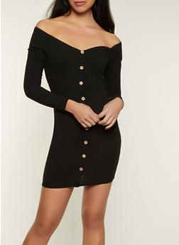 Long Sleeve Off the Shoulder Button Dress - 1410069390104