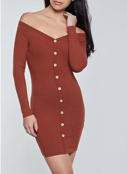 Long Sleeve Off the Shoulder Button Dress - 1410069390104