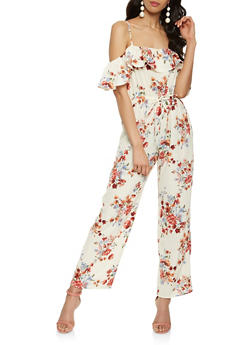 Floral Off the Shoulder Wide Leg Jumpsuit - 1410069390139