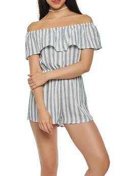 Striped Off the Shoulder Romper - 1410069390167