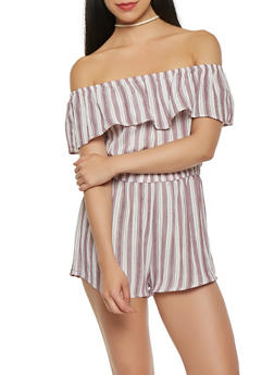 Striped Off the Shoulder Romper - 1410069390167