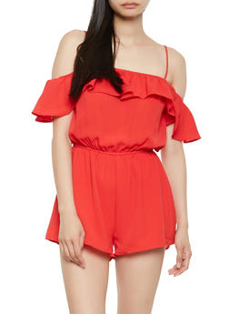 Crepe Knit Off the Shoulder Romper - 1410069390201