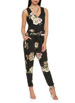 Soft Knit Floral Jumpsuit - 1410069390231