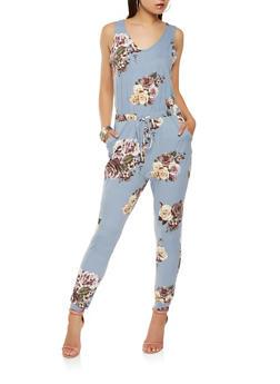 Soft Knit Floral Jumpsuit - 1410069390231