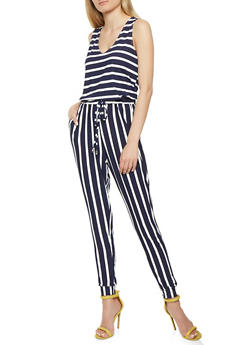 Striped Soft Knit Jumpsuit - 1410069390232