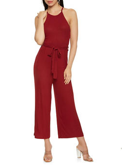 Ribbed Knit Tie Waist Jumpsuit - 1410069390271