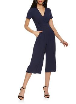 Twist Front Cropped Jumpsuit - NAVY - 1410069390275