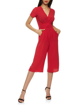 Twist Front Cropped Jumpsuit - RED - 1410069390275