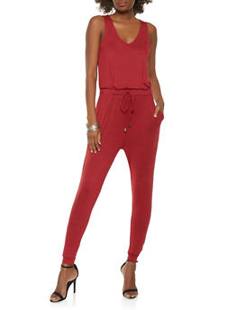 Solid Jersey Jumpsuit - 1410069390280