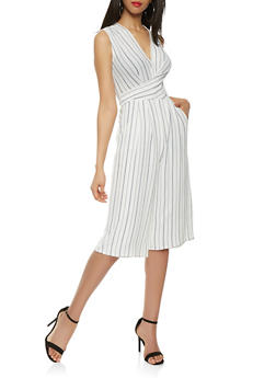 Striped Faux Wrap Cropped Jumpsuit - 1410069390285