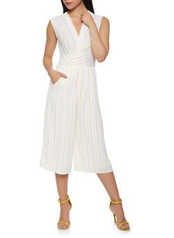Striped Faux Wrap Cropped Jumpsuit - 1410069390285