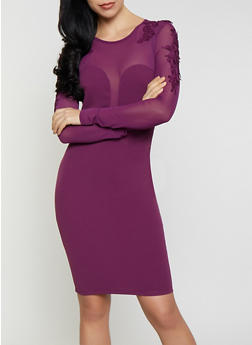 Crochet Applique Long Sleeve Bodycon Dress - 1410069390354