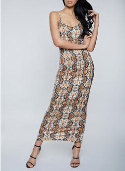 Snake Print Maxi Dress - 1410069390356