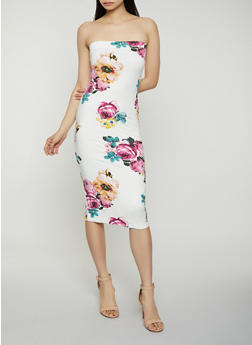 Floral Midi Tube Dress - 1410069390362
