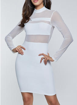 Mesh Long Sleeve Bodycon Dress - 1410069390377