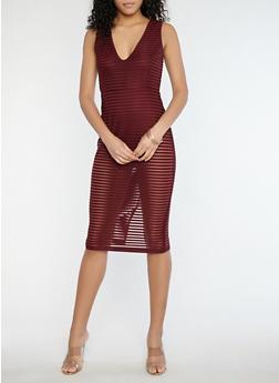 Shadow Stripe Midi Dress with Bodysuit - 1410069390412