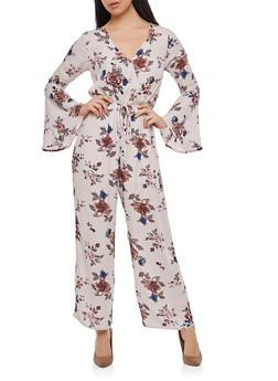 Floral Plunge V Neck Jumpsuit - 1410069390413