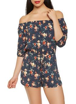 Floral Off the Shoulder Romper - 1410069390426