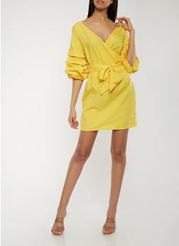Tiered Sleeve Faux Wrap Dress - 1410069390434