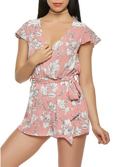 Striped Floral Flutter Sleeve Romper - 1410069390446