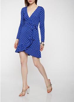 Polka Dot Faux Wrap Dress - 1410069390504