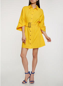 Belted Button Front Shirt Dress - 1410069390510