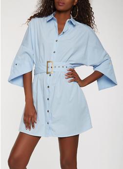 Belted Button Front Shirt Dress - 1410069390510
