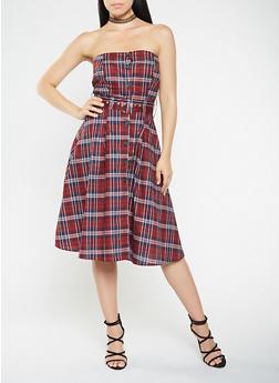Strapless Plaid Button Front Dress - 1410069390512