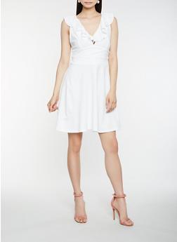 Ruffle Trim Skater Dress - IVORY - 1410069390513