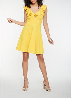 Ruffle Trim Skater Dress - 1410069390513