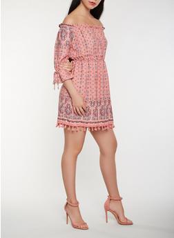 Printed Tassel Hem Off the Shoulder Dress - 1410069390583