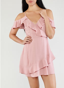 Off the Shoulder Ruffled Faux Wrap Dress - 1410069390673