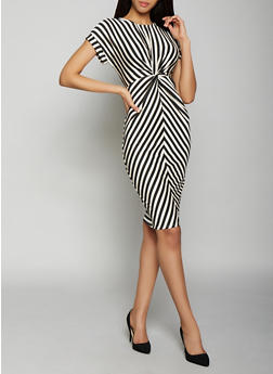 Striped Twist Front Bodycon Dress - 1410069390783