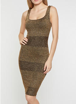 Shimmer Knit Bodycon Dress - 1410069390821
