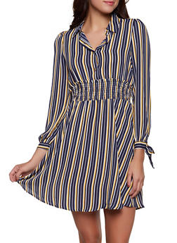 Striped Tie Sleeve Half Button Dress - 1410069390873