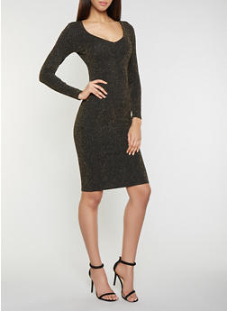 Shimmer Knit Bodycon Dress - 1410069390912
