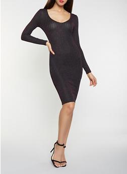 Shimmer Knit Bodycon Dress - 1410069390912