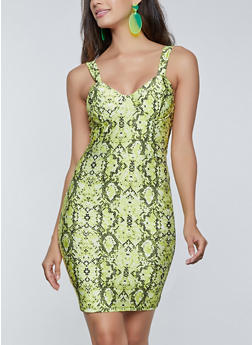 Snake Print Bustier Dress - NEON LIME - 1410069391009