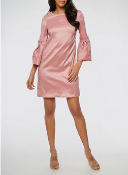 Taffeta Bell Sleeve Bodycon Dress - 1410069391043