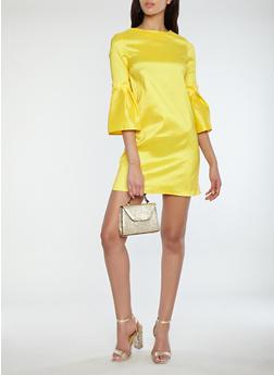 Taffeta Bell Sleeve Bodycon Dress - 1410069391043