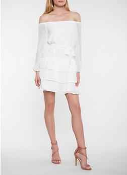 Swiss Dot Tiered Off the Shoulder Dress - 1410069391047
