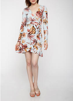 Printed Faux Wrap Dress - 1410069391054
