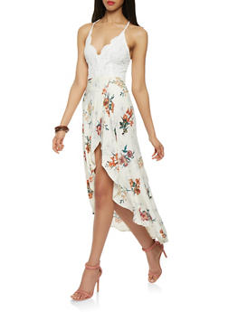 Crochet Floral High Low Dress - 1410069391193