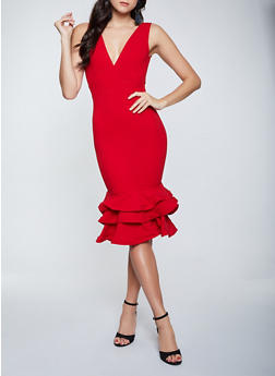 Ruffled Crepe Knit Dress - 1410069391212