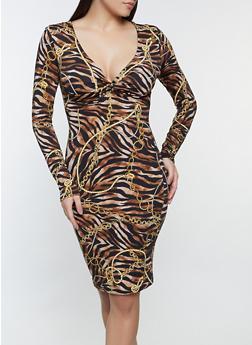 Zebra Chain Print Twist Front Dress - 1410069391220
