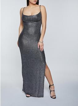 Lurex Side Slit Maxi Dress - 1410069391226