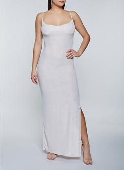 Lurex Side Slit Maxi Dress - 1410069391226