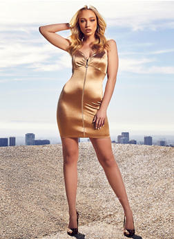 O Ring Zip Front Satin Dress - 1410069391228