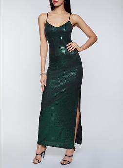 Foil Polka Dot Maxi Dress - 1410069391244