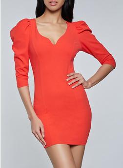 Puff Shoulder Crepe Knit Dress - 1410069391249